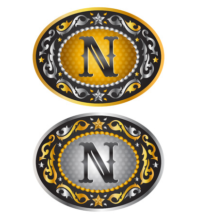 cooper: Letter N Cowboy belt buckle. Alphabet vector design Illustration