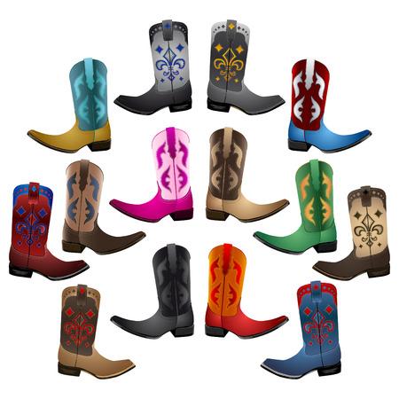 botas vaqueras: Colección Maestro Cowboy Boots ilustración detallada conjunto de iconos del vector emblema Vectores