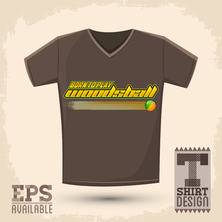 Grafisch T-shirt design Born to woodsball Woodsball spelen is een formaat van paintball gaming vector typografische ontwerp Stock Illustratie