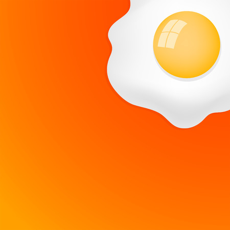 Fried Egg with orange background breakfast fried hen or chicken egg  ready for your text