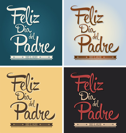 Feliz dia del padre  happy fathers day spanish text  vector card collection set
