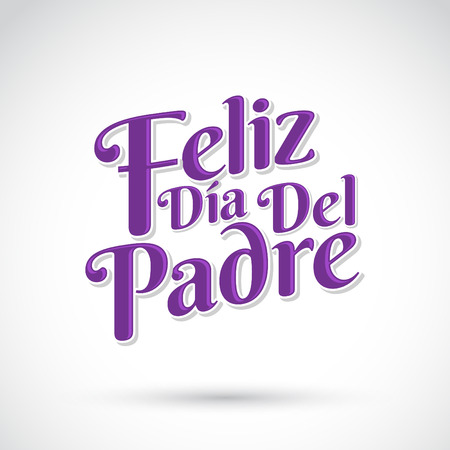 Feliz dia de padre  spanish text Happy fathers day Vector lettering  icon emblem Illustration