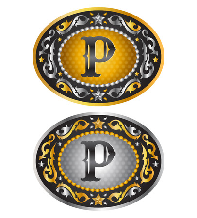 belt buckle: Letter P  Cowboy belt buckle  Alphabet vector design Illustration
