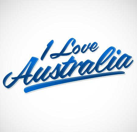 sidney: I love Australia  vector lettering  icon emblem typographic design