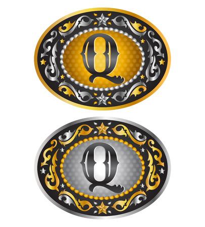手紙 Q カウボーイ ベルト バックル アルファベット ベクター デザイン  イラスト・ベクター素材