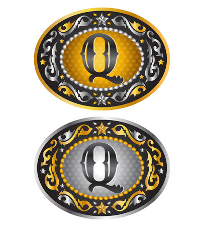 cooper: Letter Q  Cowboy belt buckle  Alphabet vector design
