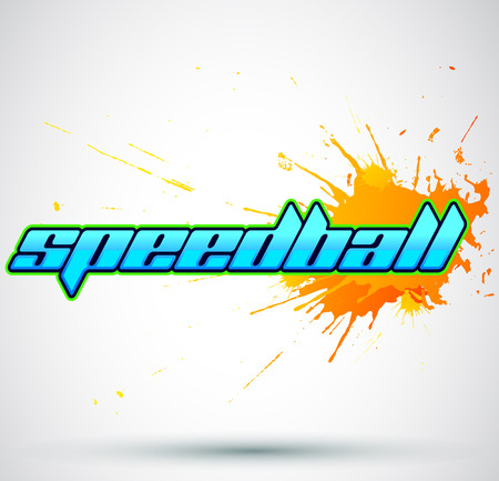 scenario: Speedball  is a format of Paintball gaming icon colorful vector banner Stock Illustratie
