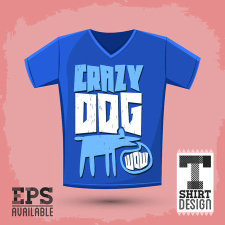 Graphic T-shirt design - crazy dog - vector Typographic Design - comic shirt graphic design 向量圖像