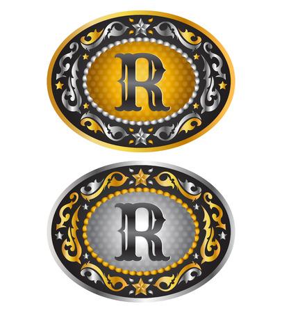 Letter R - Cowboy belt buckle - Alphabet vector design