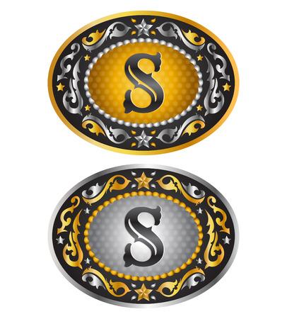 Letter S - Cowboy belt buckle - Alphabet vector design