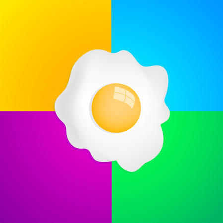 fried: Fried Egg with four color background, breakfast fried hen or chicken egg - ready for your design