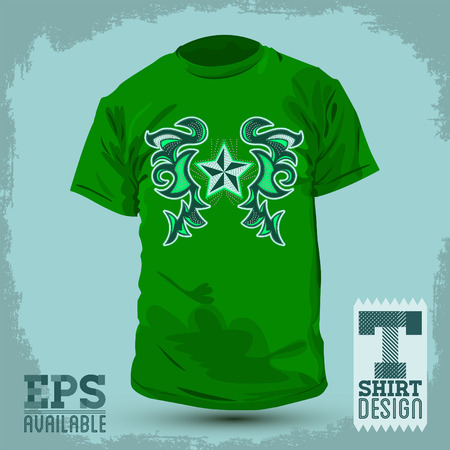 rivets: Graphic T- shirt design - Rockstar Abstract design, t-shirt - jacket design with stitches and rivets - vector illustration. Illustration