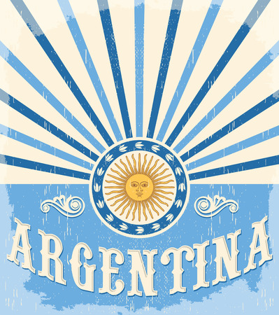 Argentina vintage card - poster vector illustration, argentina flag colors, grunge effects can be easily removed  イラスト・ベクター素材