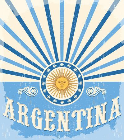 Argentinië vintage kaart - poster vector illustratie, de vlag van argentinië kleuren, kunnen grunge effecten gemakkelijk worden verwijderd Stockfoto - 42213128