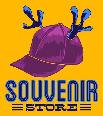 souvenir: Souvenir Store emblem sign illustration - cap with reindeer horns - poster card template