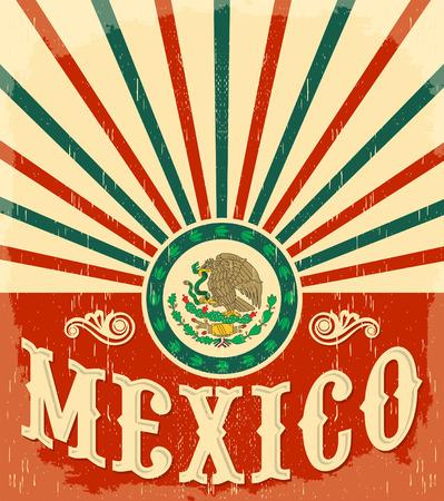 bandera de mexico: M�xico Cartel patri�tico del vintage - dise�o de la tarjeta del vector, decoraci�n de fiesta mexicano