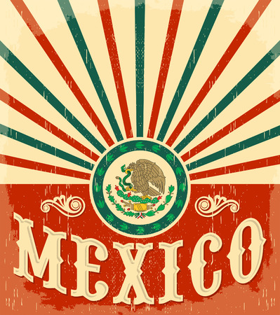 mexico: Mexico vintage patriotic poster - card vector design, mexican holiday decoration
