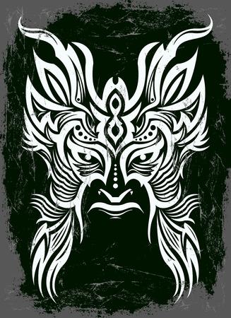 african descent: Dark evil mask with black background - tribal vintage illustration