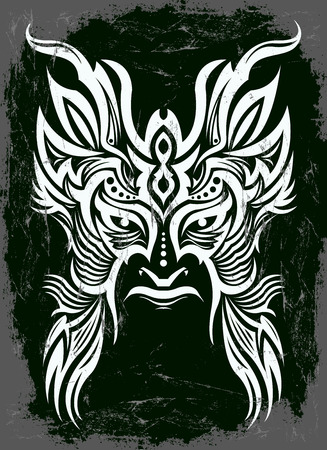 antiquities: Dark evil mask with black background - tribal vintage illustration
