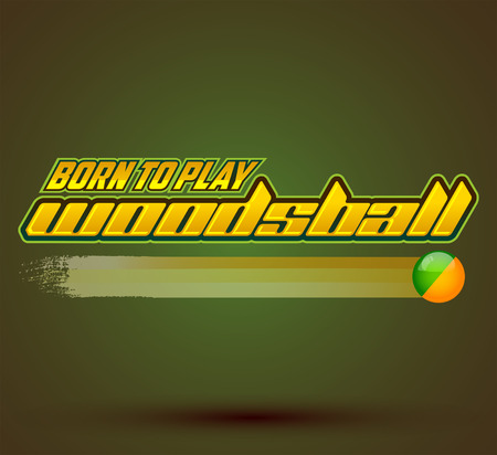scenario: Born to play Woodsball - is a format of paintball gaming, icon, emblem, colorful banner Stock Illustratie