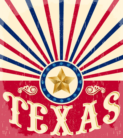 Texas Vintage poster - Card - western - cowboy style, Grunge effects can be easily removed
