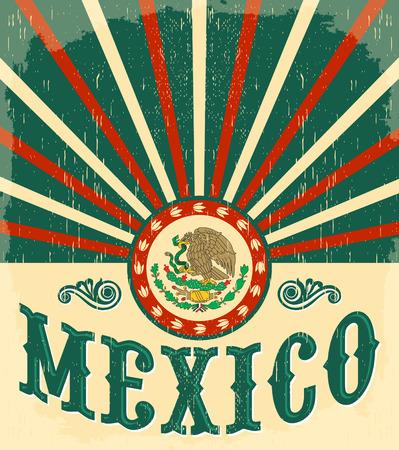 bandera de mexico: México Cartel patriótico del vintage - diseño de la tarjeta del vector, decoración de fiesta mexicano