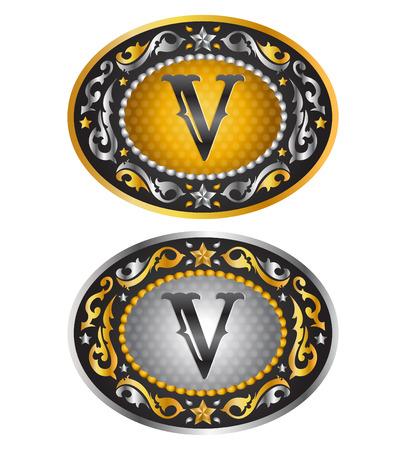 ベクター デザインの V - カウボーイ ベルト バックル - アルファベットの手紙します。  イラスト・ベクター素材