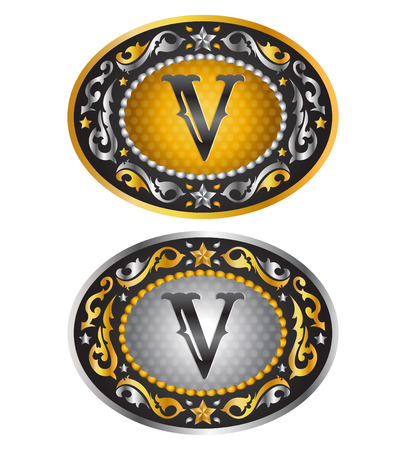 belt buckle: Letter V - Cowboy belt buckle - Alphabet vector design Illustration