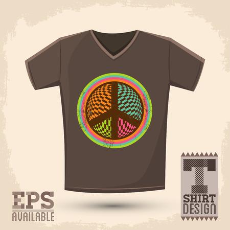 Graphic T- shirt design - Peace and Love Icon, emblem - shirt graphic design - vector illustration Иллюстрация