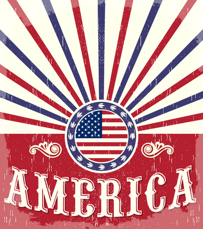 America Vintage flag poster - Card, western - cowboy style, Grunge effects can be easily removed