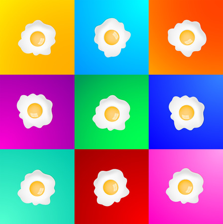 fried: Fried Egg vector set, variety of color background, breakfast fried hen or chicken egg collection