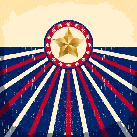 western: Vintage star flag background - Card, western cowboy style, Grunge effects can be easily removed