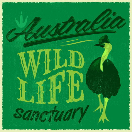 australia stamp: Vintage T - Shirt design - Australian Wild Life vector print illustration Illustration