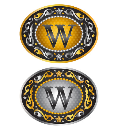 wade: Letter W - Cowboy belt buckle - Alphabet initial vector design Illustration