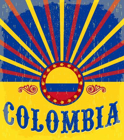 la bandera de colombia: Colombia Cartel patri�tico del vintage - dise�o de la tarjeta del vector, decoraci�n de vacaciones de Colombia