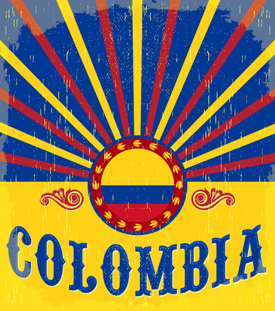 Colombia vintage patriotic poster - card vector design, Colombian holiday decoration