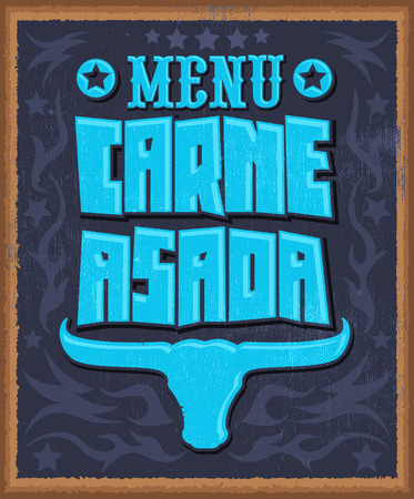 spanish bull: Carne asada, roast meat - barbecue spanish text menu - vector lettering design - western style