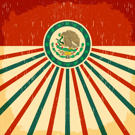 Mexico vintage patriotic poster - card vector design, mexican holiday decoration Banco de Imagens - 43548255