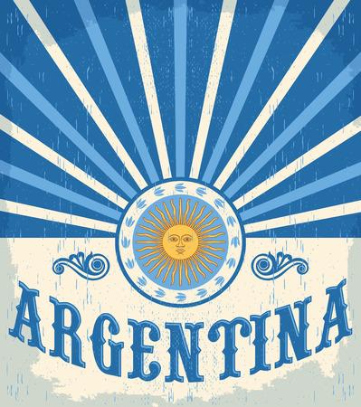 아르헨티나 빈티지 카드 - 포스터 벡터 일러스트 레이 션, 아르헨티나 플래그 색, 그런 지 효과 쉽게 제거 할 수 있습니다