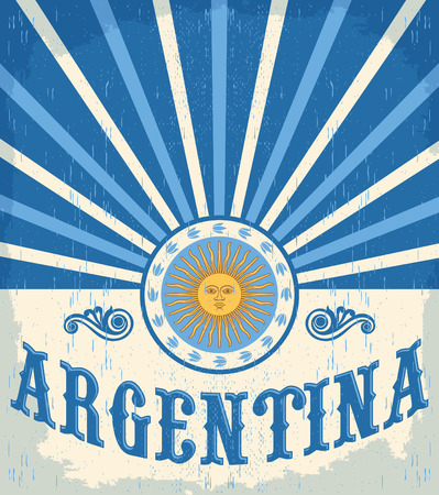 Argentina vintage card - poster vector illustration, argentina flag colors, grunge effects can be easily removed 版權商用圖片 - 43552417