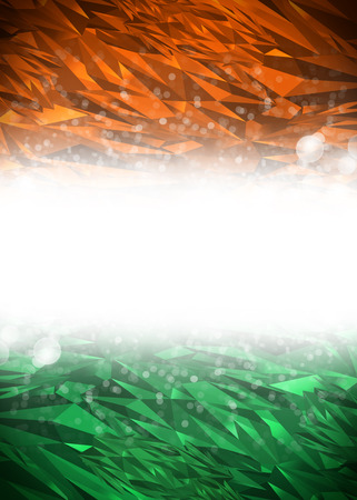 Orange, white and green background ready for your text, Modern india background - flag colors