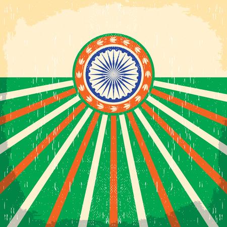 인도 빈티지 카드 - 포스터 벡터 일러스트 레이 션, 인도 플래그 색, 그런 지 효과 쉽게 제거 할 수 있습니다