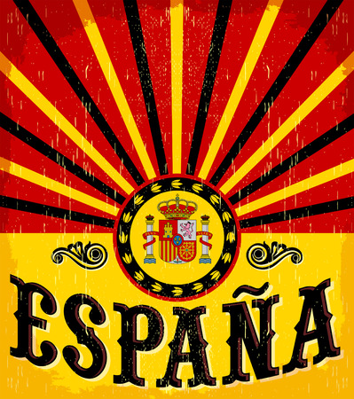 madrid spain: Espana - Spain spanish text - vintage card - poster vector illustration, spanish flag colors, grunge effects can be easily removed