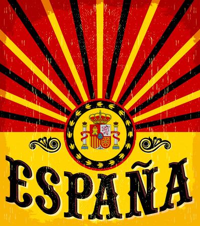 Espana - Spanje spaans tekst - vintage kaart - poster vector illustratie, spaanse vlag kleuren, grunge effecten kunnen gemakkelijk worden verwijderd