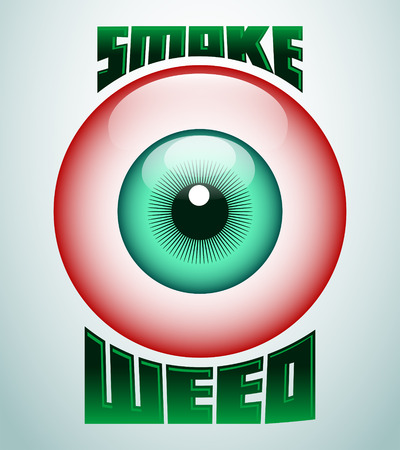 hash: Smoke weed, red eye icon - emblem - weed is another name for marijuana