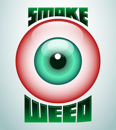 Smoke weed, rode ogen pictogram - embleem - onkruid is een andere naam voor marihuana Stock Illustratie