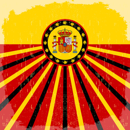 bilbao: Espana - Spain spanish text - vintage card - poster vector illustration, spanish flag colors, grunge effects can be easily removed