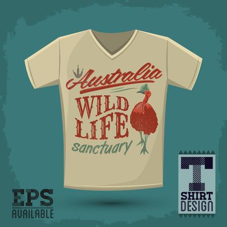 sanctuary: Graphic T- shirt design - Australian Wild Life sanctuary - Vector illustration - shirt print