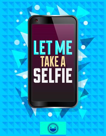 selfie: Let me take a selfie, vector illustration with smart phone, Cartoon Selfie concept Illustration