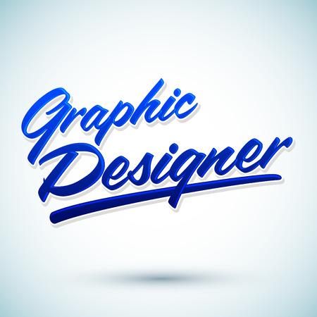 head massage: Graphic Designer vector lettering - professional career icon, emblem, tittle Illustration